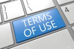 Terms of use - keyboard 3d render illustration with word on blue key